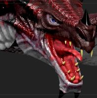Skyrim Dragon Retextured via zbrush 2 by Zerofrust