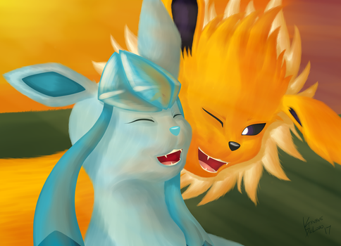 Glaceon and Jolteon by k9player