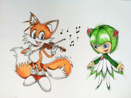 Tails and Cosmo - 'A Fox and his Fiddle' by connieiscrazy