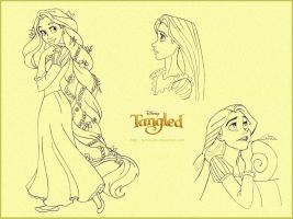 Tangled - Rapunzel sketches by Larocka84