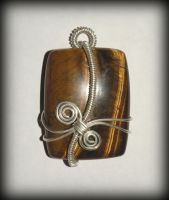 Tiger-eye and Sterling silver pendant by marsvar