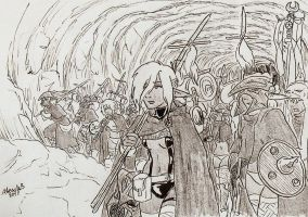 Drow soldiers marching by Shabazik
