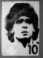 Maradona on a wall by Roger141178