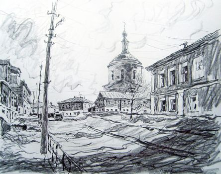 Pencil drawing  In the village by Dmitiri