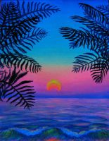 Goa Sunset 2010  Palm Leaves by Anastasia-Artist