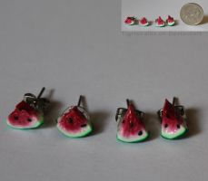 Watermelon Earrings! (Commission) by TigrisVallis