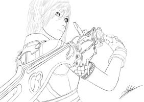 FF XIII Lightning Outlines by clanto