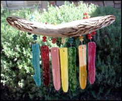 Driftwood and Glass Wind Chime by andromeda