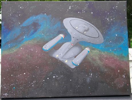 Starship Enterprise D, first real acrylic by KaizokuShojo