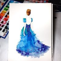 Watercolor Fashion Illustration by BrownPaperBunny