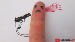 Funny Finger Suicide Drawing by HideakiArtReal