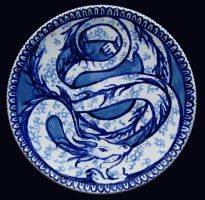 Blue dragon plate: Kohaku by janey-jane