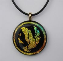 Doves Fused Glass Pendant by FusedElegance