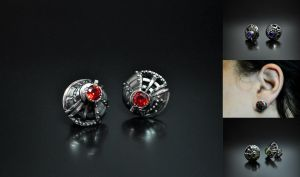 Steampunk industrial stud earrings Bucinum2 by GatoJewel-DerKater
