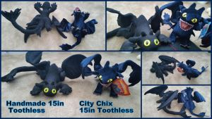 Handmade And City Chix Toothless Plush by Vesperwolfy87
