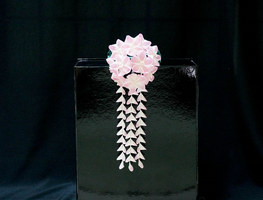 Pink and White Kanzashi 186 by japanesesilkflowers