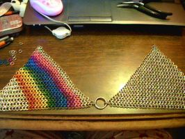 Rainbow chainmaille bikini WIP by lunabellvarga