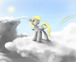 MLP FIM - Derpy in clouds by MadCookiefighter