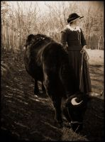 Lady and her cow by booberryeyes