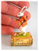 WHITE RABBIT WONDERLAND STORY BOOK by WEE-OOAK-MINIATURES
