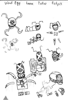 Enemy doodles - Virus stages by RobotnikHolmes