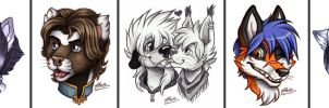 Kisses and other sketch headshots! by MacGreen