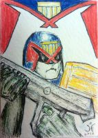 Judge Dredd Sketch Card by JRFreemanJr