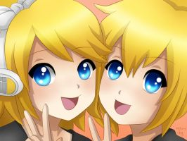 Rin and Len : Zoom on by LadyGalatee