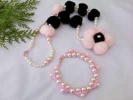 Black and pink necklace by Mirtus63