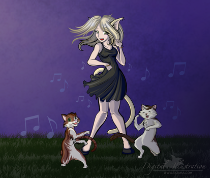 Catgirl with Dancing Cats by Tazmaa