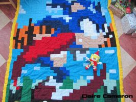 Sonic The Hedgehog Quilt by Vixen-T-Fox