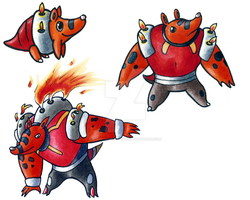 Fire Starter: Combusting Armadillos by Diamond-Creations