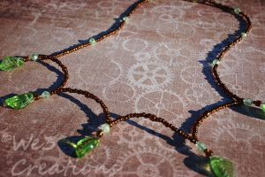 Green Leaves with Bronze Beads by kelleejm1