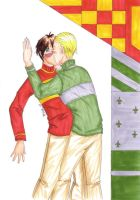 draco harry kiss color by wannabehokage