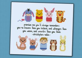 Mini People - Winnie the Pooh cross stitch pattern by cloudsfactory