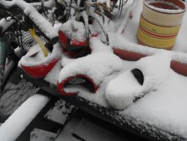 Wooden shoes in the snow by Trea1969
