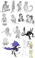 Monster Academy Art Dump by mrSketchy