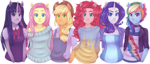 The mane six by RingaButt