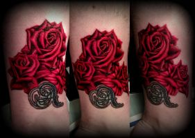 Red realistic roses tattoo by CalebSlabzzzGraham