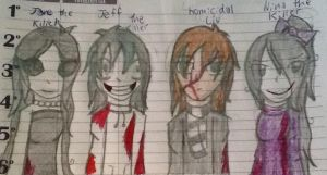 Jeff , Jane and Nina the killer and homicidal Liu by Merlinathecat