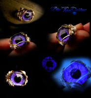 Purple Violet - Wire Wrapped Eye Ring - Adjustable by LadyPirotessa