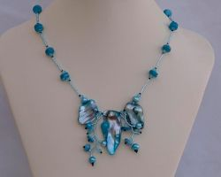 Wild orchid necklace, aqua blue N1362 by Fleur-de-Irk