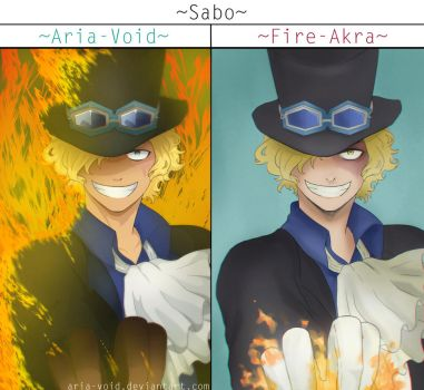 Sabo X2!~ with Fire-Akra~ by Aria-Void