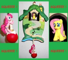 Fluttershy Pinkie Pie Cuckoo Clock custom sculpt 2 by MadPonyScientist
