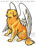Golden Retriever Dog Memorial by WildSpiritWolf