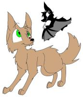 Bat and coyote by Cheedo6