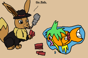 [Kiribian] Trick and Wallykarp playing Card Games by Dustyfootwarrior