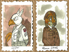 1940's Badges -- The Golden Griffin + Alana by Geistlicher