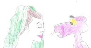 The Pink Panther sees a woman with green hood by MarcosLucky96