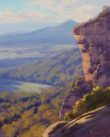 Blue Mountains Cliff by artsaus